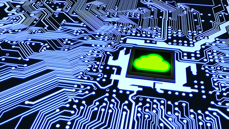 Blue circuit board closeup connected to a cpu with a glowing green cloud symbol on top cloud computing concept 3D illustration