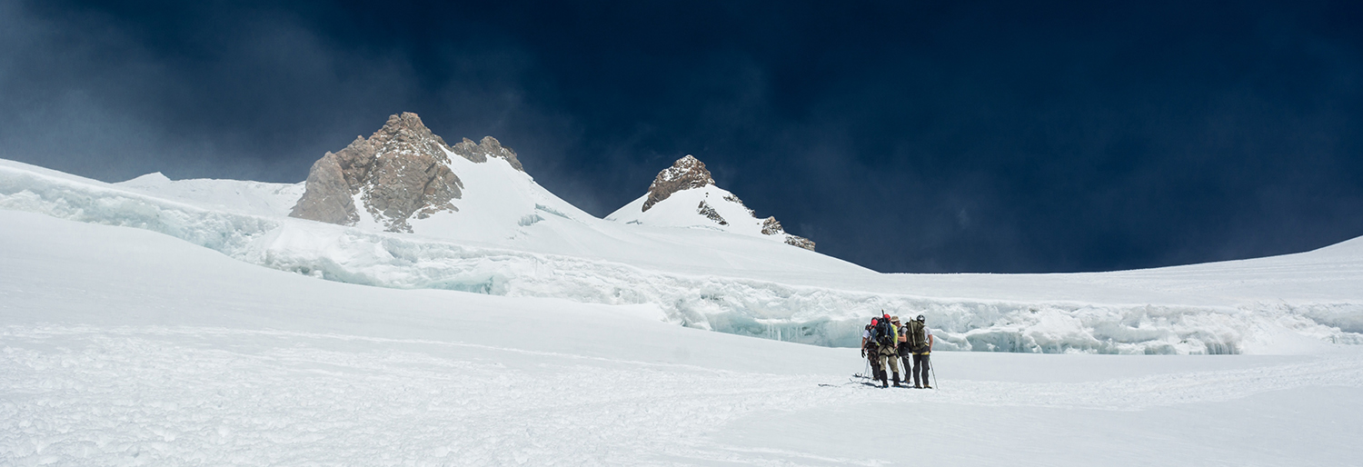 Group of alpinists on a glacier. Monte Rosa massif.